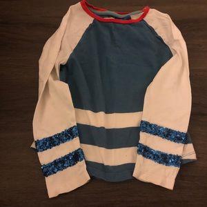 Mini Boden Jonnie B. Baseball Glitter Shirt